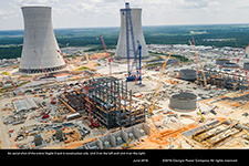 An aerial shot of the entire Vogtle 3 and 4 construction site, Unit 3 on the left and Unit 4 on the right.