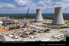 An elevated view of the entire Vogtle 3 and 4 construction site.