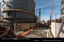 Vogtle Unit 3 nuclear island, with annex building construction in foreground