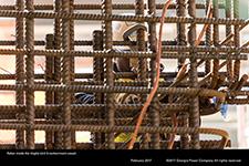 Rebar inside the Vogtle Unit 3 containment vessel
