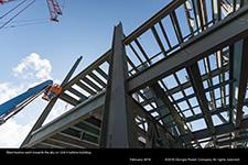 Steel beams reach towards the sky on Unit 4 turbine building.
