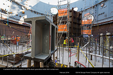 A pedestal that will help support one of the steam generators inside Unit 4 containment.