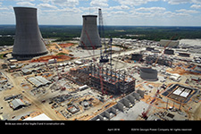 Birds-eye view of the Vogtle 3 and 4 construction site.