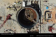 Birds-eye view of Unit 4 nuclear island.