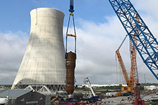 The first steam generator is lifted for placement inside the Vogtle Unit 3 containment vessel.