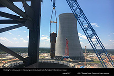 Weighing 1.4 million pounds, the first steam generator is placed inside the Vogtle Unit 3 containment vessel.