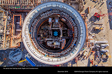 An aerial view looking inside Vogtle Unit 3 containment.