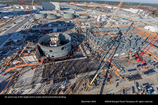 An aerial view of the Vogtle Unit 4 nuclear island and turbine building.