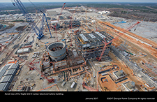 Aerial view of the Vogtle Unit 3 nuclear island and turbine building.