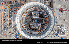 Aerial view looking inside Vogtle Unit 3 containment.