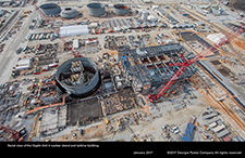 Aerial view of the Vogtle Unit 4 nuclear island and turbine building.