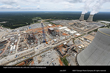 Vogtle 3 and 4 construction site, with units 1 and 2 in the background.