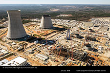 An aerial view of the Vogtle 3 and 4 construction site with labels.