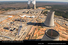 An aerial view of the Vogtle 3 and 4 construction site.