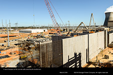 of progress on the concrete walls protecting the transformers.