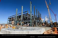 Progress on the condensate tank foundation continues near the Unit 4 turbine building.