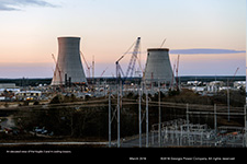 An elevated view of the Vogtle 3 and 4 cooling towers.