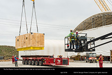 The first Reactor Coolant Pump arrived on site via truck and is being stored on site.