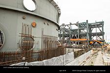 Unit 4 nuclear island and turbine building.