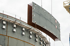 Workers placed all six of the third course shield building panels for Unit 3.