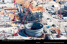Aerial view of Vogtle Unit 4 nuclear island and turbine island.