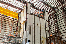 The Vogtle Unit 4 CA01 structural module under fabrication inside the Module Assembly Building.