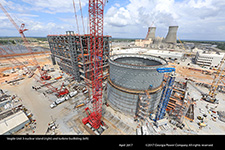 Vogtle Unit 3 nuclear island (right) and turbine bui8lding (left)