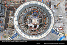 An aerial view looking inside the Vogtle Unit 3 containment vessel.