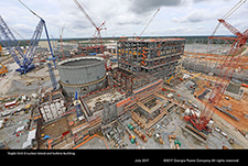 Vogtle Unit 3 nuclear island and turbine building.