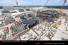 Vogtle Unit 4 nuclear island (left) and turbine building (right)