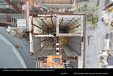 An aerial view of the Vogtle Unit 4 nuclear island looking inside the CA20 module.