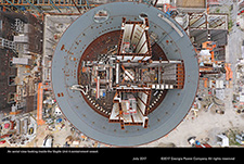An aerial view looking inside the Vogtle Unit 4 containment vessel.