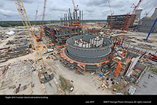 Vogtle Unit 4 nuclear island and turbine building.