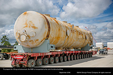 To prepare for lifting and placement, the MSR is transported to the Unit 3 turbine building.