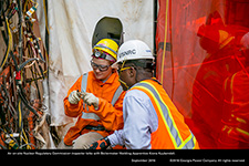 An on-site Nuclear Regulatory Commission inspector talks with Boilermaker Welding Apprentice Kiona Kuykendall.