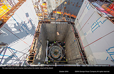 The area inside the Unit 3 nuclear island where the reactor vessel will be placed.