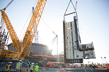 The CA01 Pressurizer Bay was successfully placed inside the Unit 4 containment vessel Aug. 18, 2017. The component is 60 feet tall, 40 feet wide and weighs 240,000 pounds.