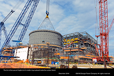 The 2.4-million-pound Vogtle Unit 3 middle ring is placed inside the nuclear island.