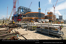 From left, construction continues on the Unit 3 turbine building, nuclear island and auxiliary building.