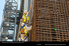 Workers set rebar at the Vogtle 3 and 4 construction site.