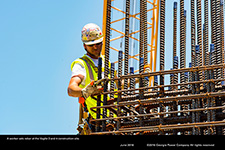 A worker sets rebar at the Vogtle 3 and 4 consruction site.