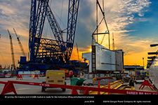 At sunrise, the massive Unit 4 CA05 module is ready for the meticulous lifting and placement process.