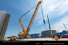 The yellow Leihberr crane helps assemble the blue Lampson crane.