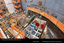 Workers inside the Vogtle Unit 3 containment vessel.