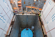 The top of the Vogtle Unit 3 reactor vessel is visible looking down inside containment.