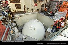 Accumulator tank inside the Vogtle Unit 3 containment vessel.