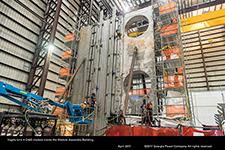 Vogtle Unit 4 CA02 module inside the Module Assembly Building.