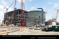 Vogtle Unit 3 containment vessel and turbine building.
