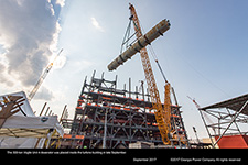 The 300-ton Vogtle Unit 4 deaerator was placed inside the turbine building in late September.