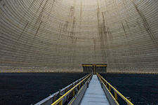 Looking up inside the Vogtle Unit 3 cooling tower.